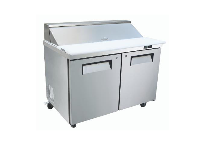 "Manotick MT-KSR-48B 48"" 2 Door Refrigerated Sandwich Prep Table   White Stone"