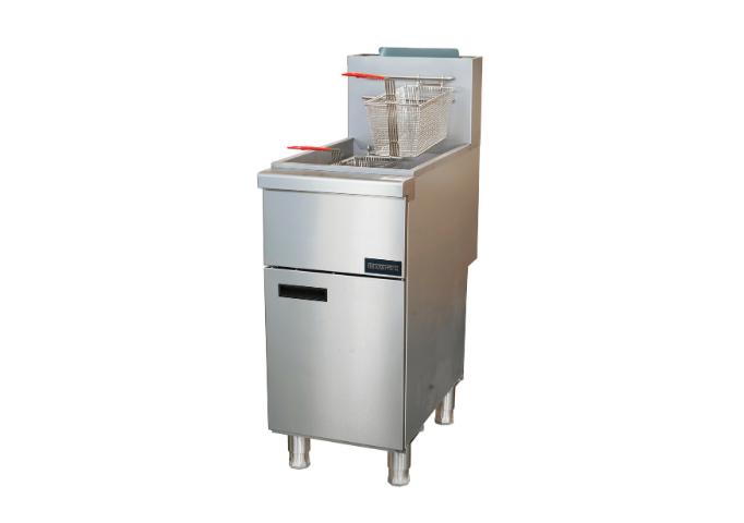 Manotick MT-F4-NG Gas 40-55 lb. Stainless Steel Floor Fryer-120,000 BTU | White Stone